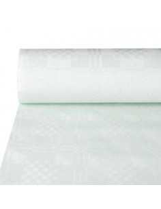 Rollo mantel papel blanco gofrado damasco hostelería 50 x 1,2m