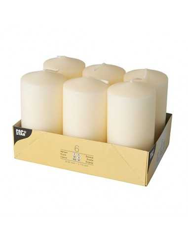 6 Velas de Taco Color Crema Ø 60 x 115 mm