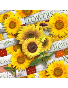 20 Servilletas Decoradas Girasoles 33 x 33 cm