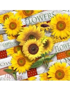 Servilletas de papel decoradas girasoles amarillo 33 x 33 cm
