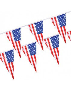 Banderines decoración fiesta bandera americana plástico impermeable 4m
