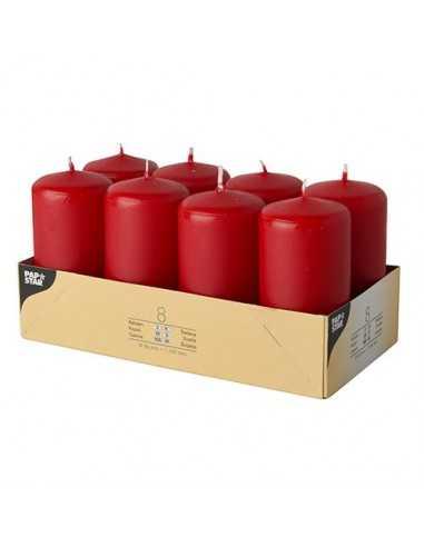 8 Velas de Taco Color Rojo Ø 50 x 100mm