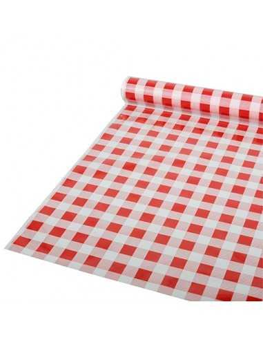Rollo mantel de plástico cuadros vichy rojo blanco 50m x 80cm