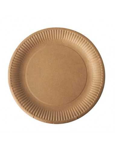 Platos cartón redondos marón natural Ø 23 cm Pure