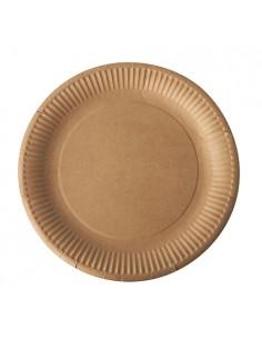 Assiettes en Carton Marron Pure rondes Ø 23 cm