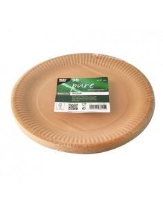 Platos de cartón redondos color marrón Pure Ø 23cm