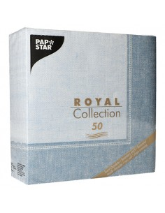 Servilletas papel decoradas Royal Collection Linum azul 40 x 40 cm