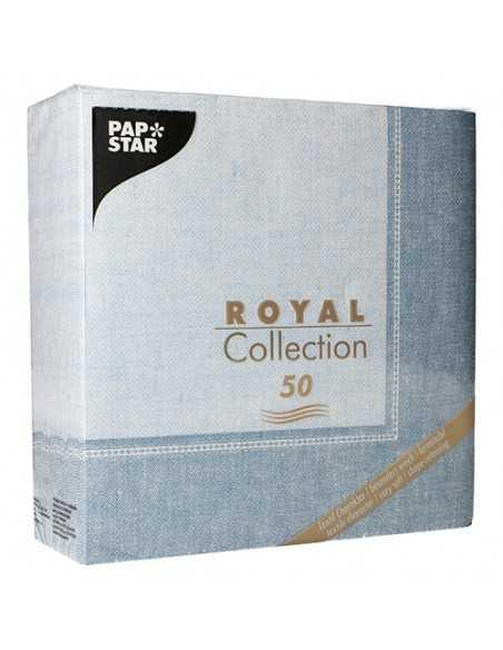 50 Servilletas Decoradas Color Azul Royal Collection 40x40 cm Linum