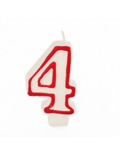 Vela cumpleaños número 4 color blanco borde rojo pastelería 7,3 cm