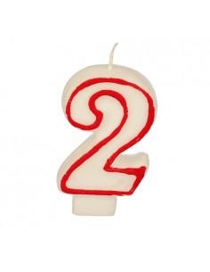 """Vela cumpleaños Número """"2"""" Color Blanco con Borde Rojo 7,3cm"""
