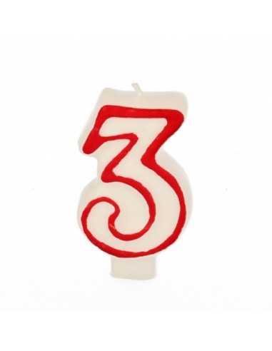 Vela cumpleaños número 3 color blanco borde rojo pastelería 7,3 cm