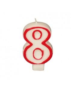 """Vela Cumpleaños Número """"8"""" Color Blanco Borde Rojo 7,3cm"""