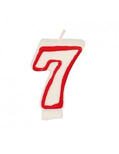 """Vela cumpleaños Número """"7"""" Color Blanco con Borde Rojo 7,3cm"""