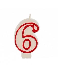 """Vela cumpleaños Número """"6"""" Color Blanco con Borde Rojo 7,3cm"""