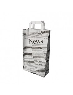 Bolsas Papel Con Asa Decoradas Newsprint 36 x 22 x 07cm