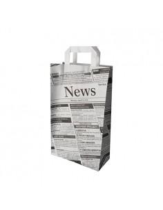 Bolsas papel con asas decoradas papel prensa Newsprint 36 x 22 x 10cm