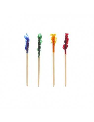 Palillos madera decoración tapas en colores surtidos 6,8 cm