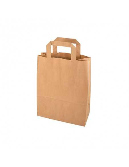 Bolsas papel kraft marrón con asas planas 28 x 22 x 10 cm
