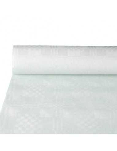 Rollo mantel papel color blanco gofrado damasco 10 x 1m