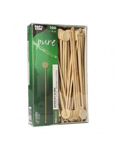 100 Removedores de Cóctel Madera Bambú Pure 18cm