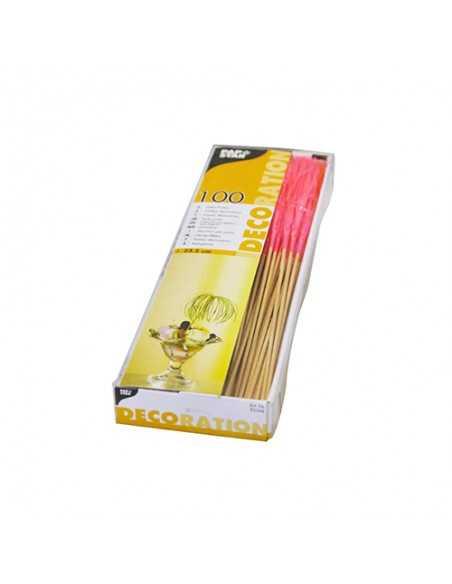 Palillos madera decoración bebidas colores neon 15,5cm Fireworks