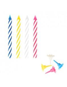 Velas de cumpleaños clásicas de colores 6 cm