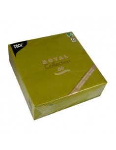 50 Servilletas Papel Aspecto Tela Royal Collection Verde Oliva 40 x 40cm
