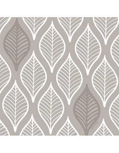 Servilletas de papel decoradas gris 33 x 33 cm Leafy