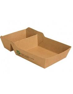 Bandejas para fritos cartón marrón 2 compartimentos Pure 100% Fair