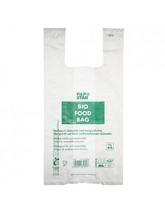 100 Bolsas Camiseta Con Asa de Organicas 55 x 28 cm
