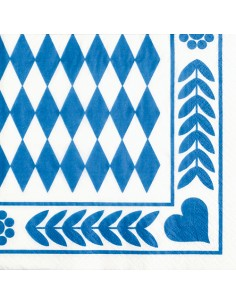 20 Servilleta Papel Decorada Baviera Azul 33 x 33 cm