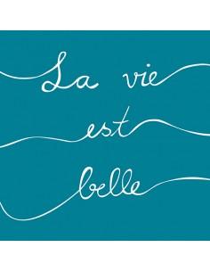 "20 Servilletas 33 x 33cm Color Azul Petróleo Impresa ""La Vie est Belle"""
