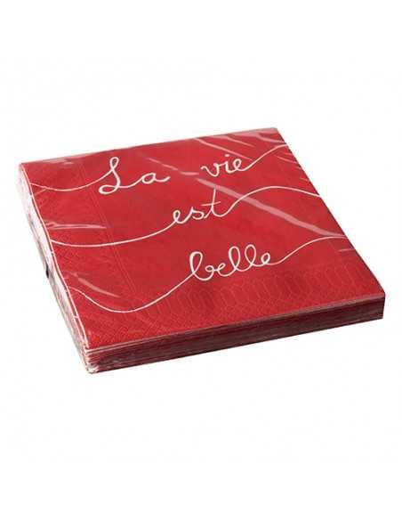 Servilletas de papel color rojo impresas La Vie est Belle 33 x 33 cm