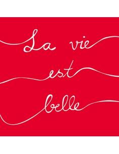 "20 Servilletas 33 x 33 cm Color Rojo Impresas ""La Vie est Belle"""