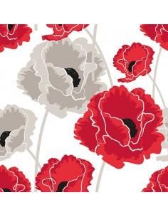 Servilletas de papel decoradas flores amapolas rojo 40 x 40 cm