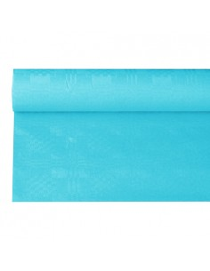 Rollo mantel papel color turquesa gofrado damasco 6 x 1,2m