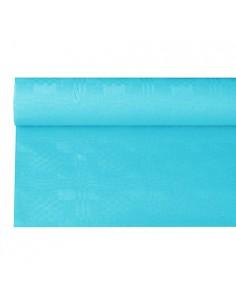 Mantel Papel con Gofrado Damasco 6 x 1,2 Azul Turquesa