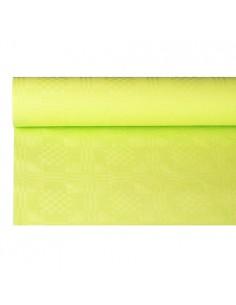 Mantel Papel Gofrado Damasco Verde Limón 6 x 1,2 m