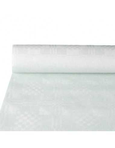 Mantel Papel con Gofrado Damasco Blanco 10 x 1, 2m