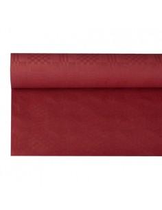 Mantel Papel Gofrado Damasco Color Burdeos 8 x 1,2 m