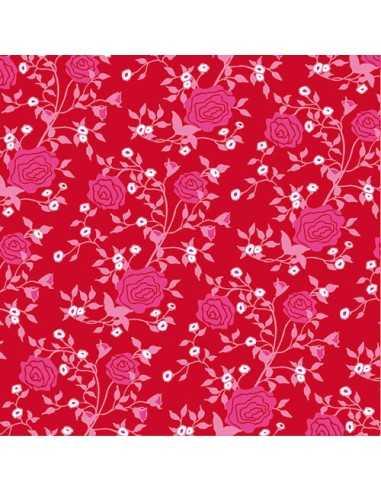 Servilletas de papel decoradas estampado rosas color rojo 33 x 33 cm