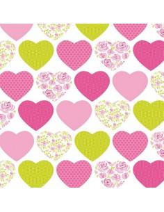 Servilletas de papel decoradas corazones rosa 33 x 33 cm
