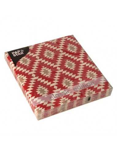 20 Servilletas Decoradas Azteca Tonos Rojo 33 x 33 cm