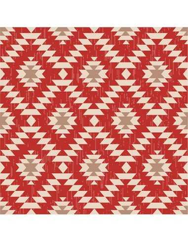 Servilletas de papel decoradas Azteca Rojo 33 x 33 cm
