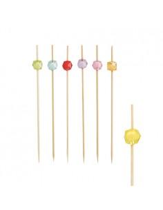 100 Pinchos Madera Decoración Perlas Surtido Color 12cm