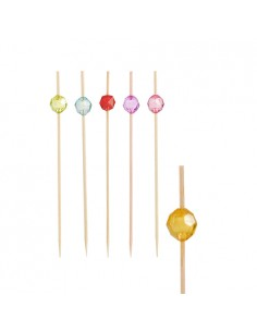 40 Pinchos Brochetas Decoradas Perla Colores 12cm