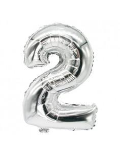 Globo metálico cumpleaños numero 2 color plata 35 x 20 cm