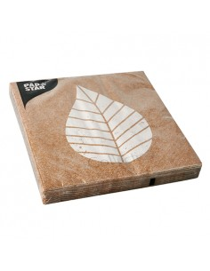 20 Servilletas Papel Color Natural 33x33 cm Graphic Leaves