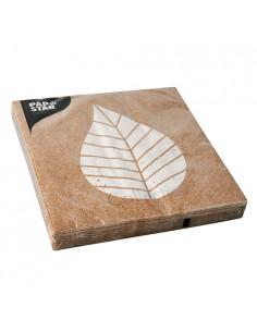 Servilletas de papel decoradas color natural 33 x 33 cm Graphic Leaves