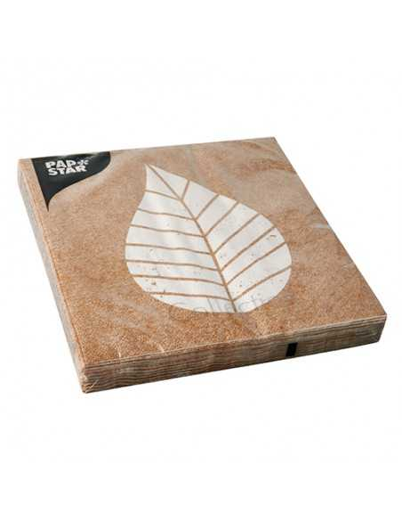 Servilletas de papel decoradas hoja color natural 33 x 33 cm Graphic Leaves